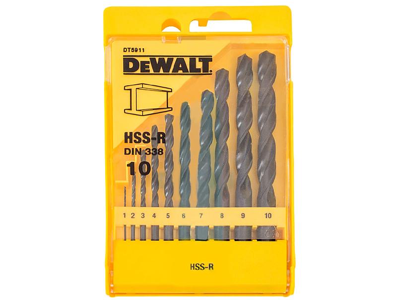 Набор сверл по металлу DeWALT HSS-R DT5911 (1, 2, 3, 4, 5, 6, 7, 8, 9, 10 мм)