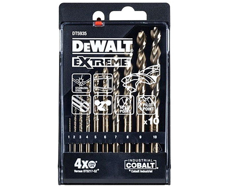 Набор сверл по металлу DeWALT EXTREME DT5935 (1, 2, 3, 4, 5, 6, 7, 8, 9, 10 мм)